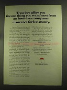 1972 Travelers Insurance Ad - Thing You Want Most