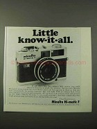1972 Minolta Hi-Matic F Camera Ad - Little Know-it-All