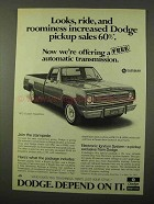 1972 Dodge Custom Sweptline Truck Ad - Roominess