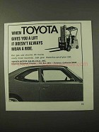 1972 Toyota Lift Trucks Ad - Doesn't Always Mean a Ride