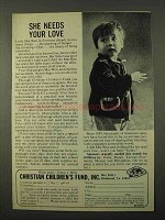 1972 Christian Children's Fund Ad - She Needs Your Love