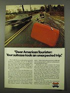 1972 American Tourister Suitcase Ad - Unexpected Trip