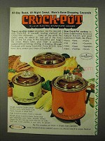 1972 Rival Crock-Pot Ad - All-Day Roast, All-Night Cereal