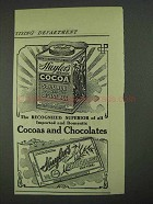1908 Huyler's Cocoas and Chocolates Ad