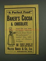1908 Baker's Cocoa & Chocolate Ad - A Perfect Food