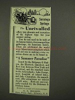 1908 Saratoga Springs Ad - The Unrivalled