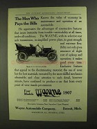 1907 The Wayne Model N Car Ad - Man Who Pays The Bills