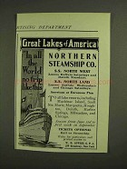 1907 Northern Steamship Co. Ad - Great Lakes