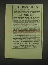1906 Mackay & Co. Bankers Ad - To Investors