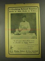 1903 Baker's Cocoa Ad - Cooking School Teacher