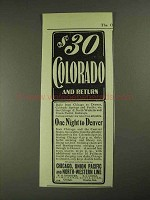 1903 Chicago, Union Pacific and North-Western Line Ad - Colorado