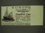 1903 Dominion Line Ad - Europe