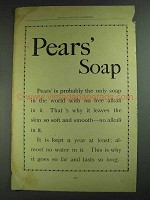 1893 Pears' Soap Ad - No Free Alkali In It
