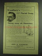 1893 Woodbury's Facial Soap Ad - Taking Away Blemishes