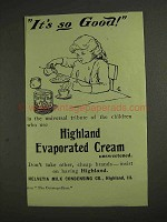 1893 Helvetia Evaporated Cream Ad - It's So Good