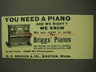 1893 Briggs Pianos Ad - You Need A Piano