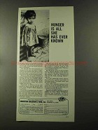 1973 Christian Children's Fund Ad - Hunger Is All