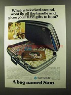 1973 Samsonite Suitcase Ad - Gets Kicked Around