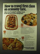 1973 Campbell's Soup Ad - Travel First Class on Economy