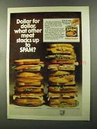 1973 Hormel SPAM Ad - Dollar for Dollar