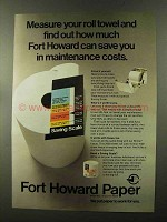 1973 Fort Howard Paper Ad - Measure Your Roll Towel