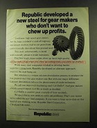 1973 Republic Steel Ad - New For Gear Makers
