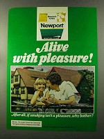 1973 Newport Cigarettes Ad - Alive With Pleasure
