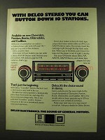 1973 GM Delco Stereo Ad - Button Down 10 Stations