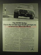 1973 Mercedes-Benz 450 SE Sedan Ad - Prompt to Invest