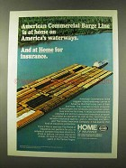 1973 The Home Insurance Company Ad - Barge Line