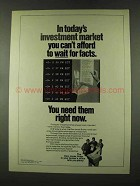 1973 Dow Jones Ad - Can't Afford to Wait for Facts