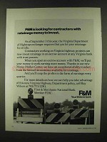 1973 F&M First & Merchants National Bank Ad - Invest