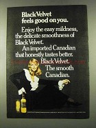 1973 Black Velvet Whisky Ad - Feels Good On You