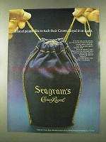 1973 Seagram's Crown Royal Ad - Tuck in at Night