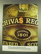 1973 Chivas Regal Scotch Ad - Label Says To You