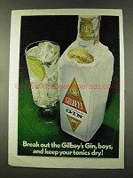 1973 Gilbey's Gin Ad - Keep Your Tonics Dry