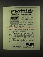 1973 F&M First & Merchants National Bank Ad - Anytime