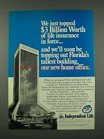 1973 Independent Life Insurance ad - Topped $3 Billion