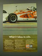 1973 Champion Spark Plugs Ad - What it Takes to Win