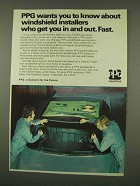 1973 PPG Windshields Ad - Installers Get You In and Out