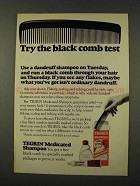 1973 Tegrin Medicated Shampoo Ad - Black Comb Test