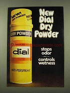 1973 Dial dry Powder Anti-Perspirant Ad - Stops Odor
