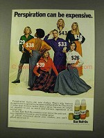 1973 Ban Roll-On Deodorant Ad - Perspiration Expensive