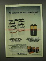 1973 Duracell Batteries Ad - Not Created Equal