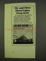 1973 Air New Zealand Ad - Fly-and-Drive Down Under