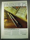 1974 Parker 75 Ball Pen and Soft Tip Set Ad