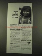 1974 Christian Children's Fund Ad - You Can Sponsor