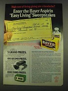 1974 Bayer Aspirin Ad - high Cost of Living