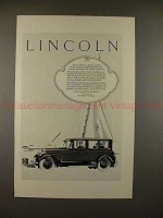 1926 Lincoln Sedan Ad - As Nearly Perfect As Possible!