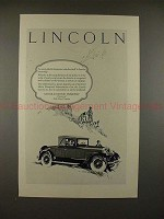 1926 Lincoln Car Ad - An Unmistakeable Distinction!